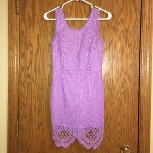 Purple lace dress mini sleeveless cute tight